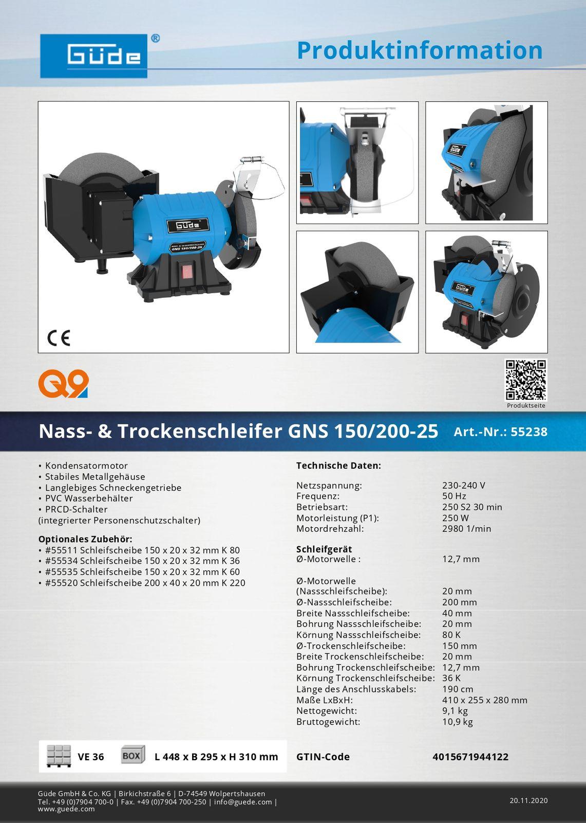 Güde Nass Trockenschleifer 150/200-25 Schleifmaschine 55238