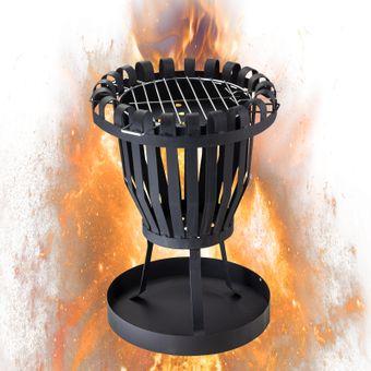 Feuerkorb Feuerschale Lagerfeuer Gartenfeuer Feuerstelle Grillrost Grill Garten – Bild $_i