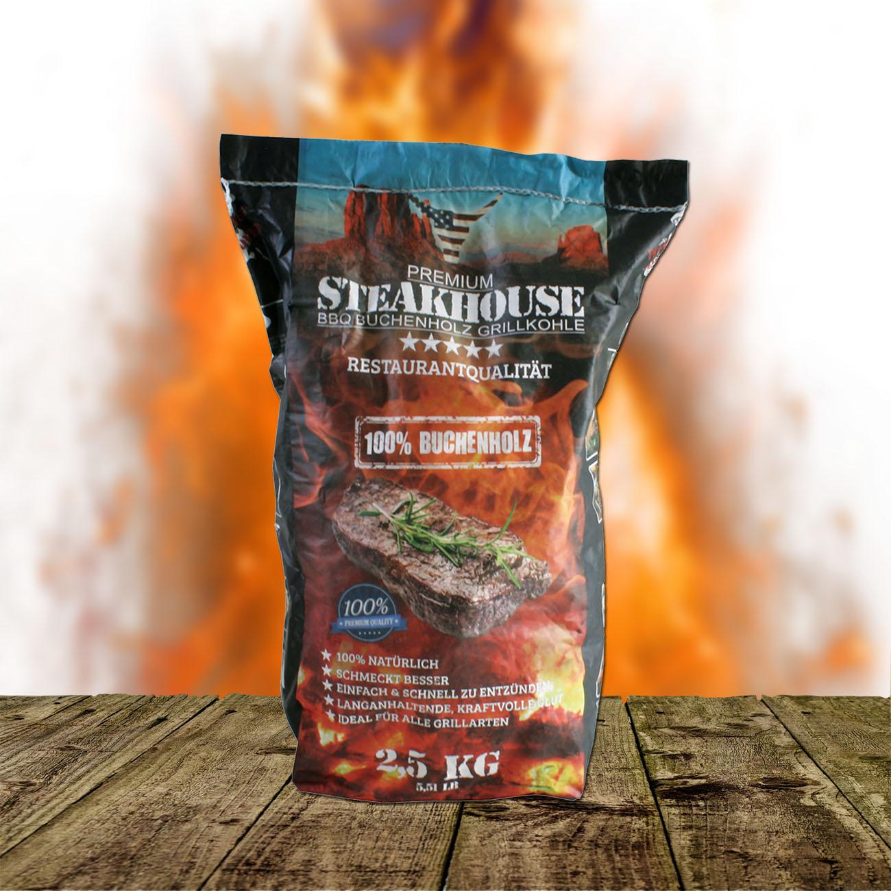 STABILO Steakhouse Premium Grillkohle aus Buche 2,5 kg 262901