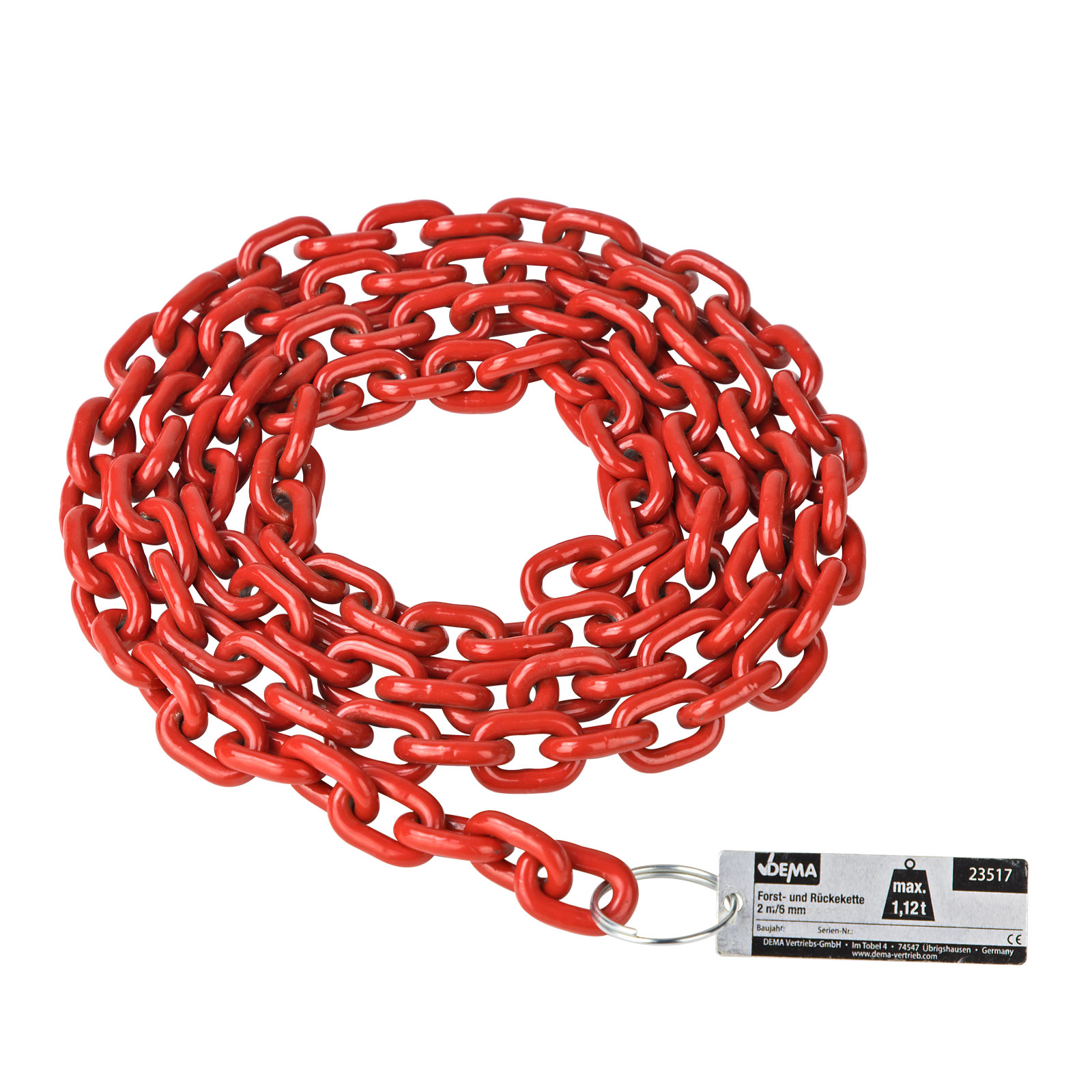 Dema Stahl Forstkette Rückekette 2m 6mm 1,12t rot Güteklasse 8 23517