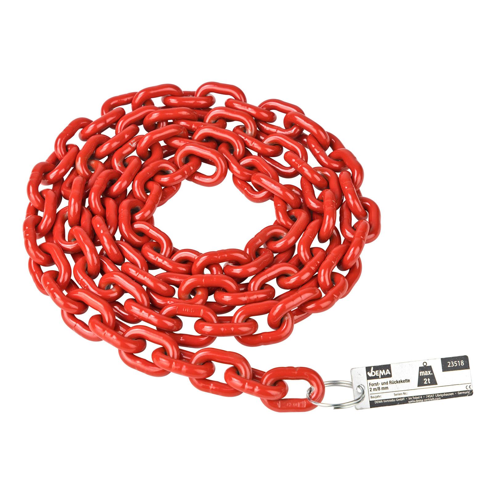 Dema Stahl Forstkette Rückekette 2m 8mm 2t rot Güteklasse 8 23518