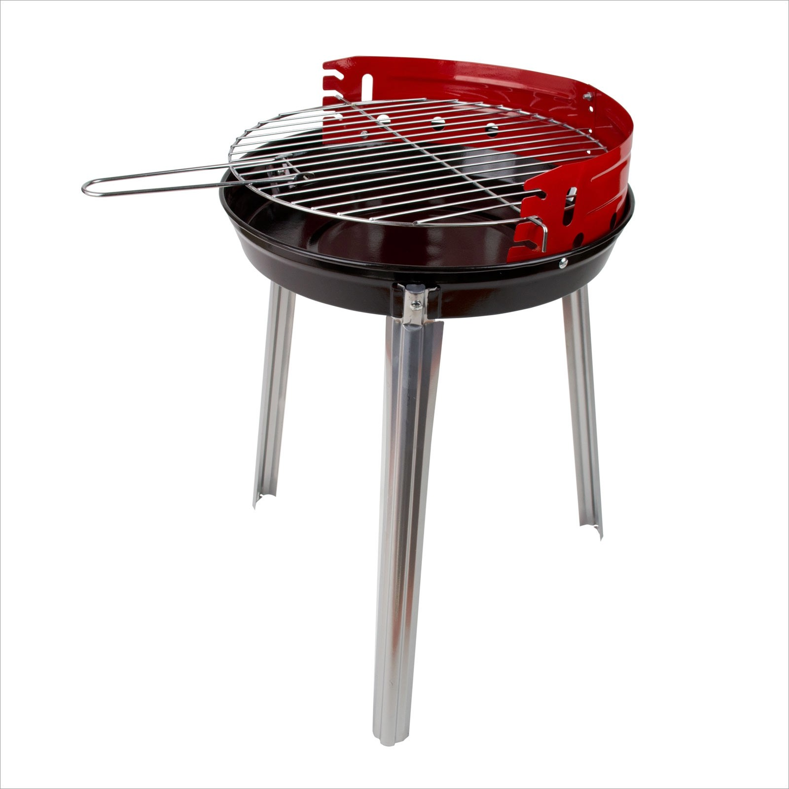 Dema Holzkohle Rundgrill Standgrill Dreibein Grill Barbecue BBQ Lyon Ø 34 cm rot 17517