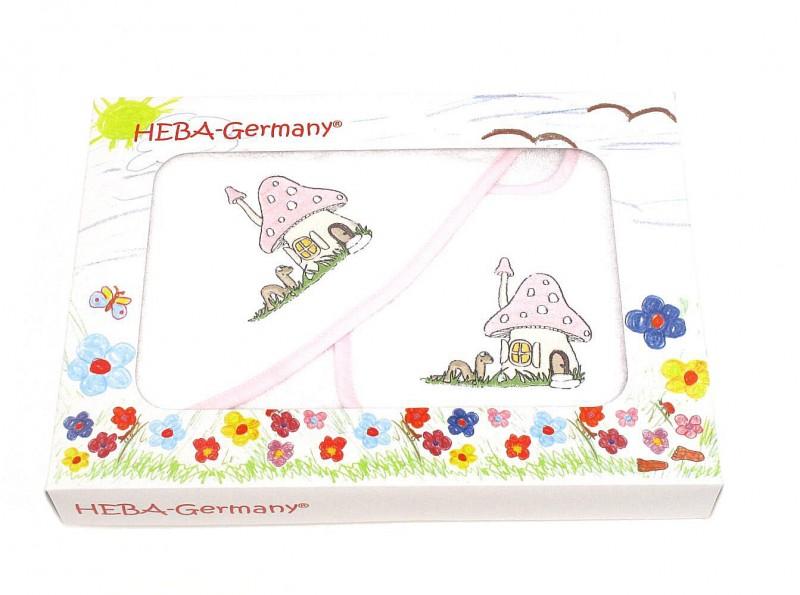Badetuch und Latz Pilzhäuschen in rosa von HOBEA-Germany