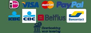 Paypal, Mastercard, VISA, iDEAL