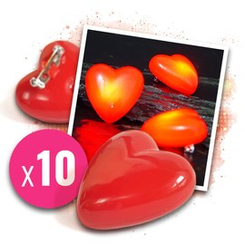 10x Flashing LED hearts