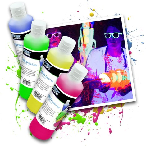 Neon UV Splash verf Set 4 x 500 ml