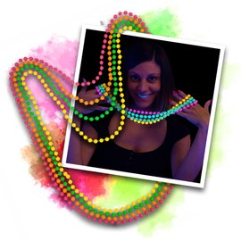 12 Blacklight UV Pearl necklaces – Bild 1