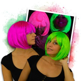 Neon Party Wig Bob Set - 1x pink & 1x green – Bild 1