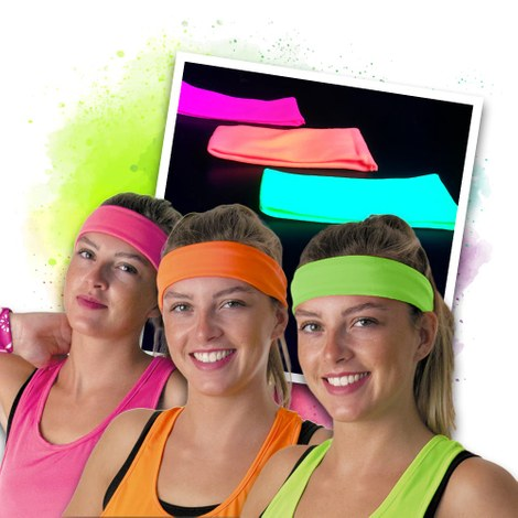 Neon UV headband - 3 colours set
