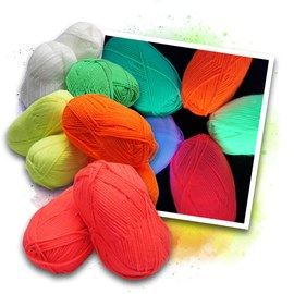 Neon UV acrylic wool - 2x5 colours