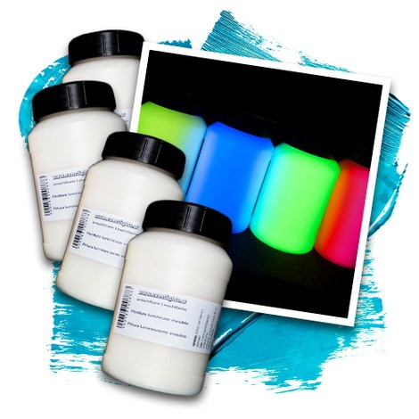 Invisible UV glow paint 4 x 250ml