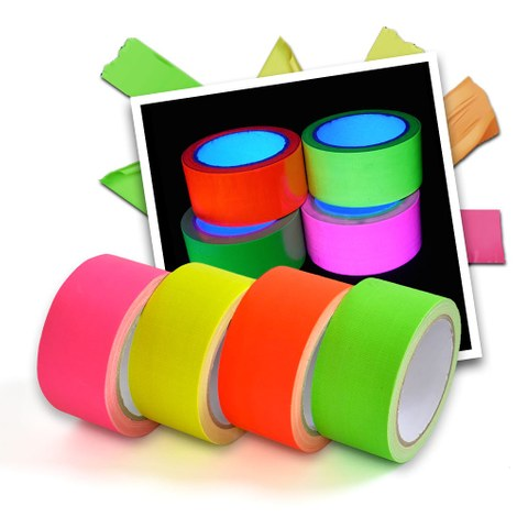 Neon UV tape - 4 colour set