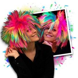 NEON Regenbogen Punk Perücke - 3 Stück