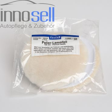 Innosell echtes Polier-Lammfell Klett Polierfell Polierhaube 130 mm - 2 Stück – Bild 1