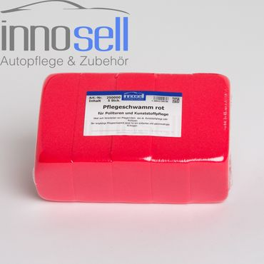 Innosell Pflegeschwamm 5 Stück rot  zum Auftragen von Politur & Kunststoffpflege