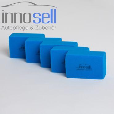 Innosell Pflegeschwamm 5 Stück blau zum Auftragen von Politur & Kunststoffpflege