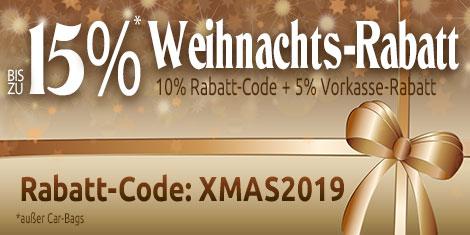 Weihnachts-Rabatt bis zu 15% sparen auf ausgewählte Artikel mit 10% Rabatt-Code: XMAS2019 und 5% Vorkasse-Rabatt
