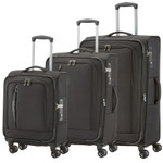 Travelite CROSSLITE Schwarz 3 tlg. Trolley Set