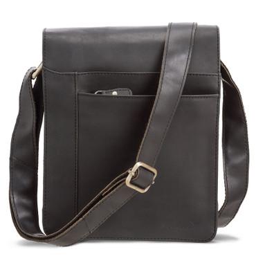 PACKENGER OLAF Messenger Bag Umhängetasche Schwarz Ledertasche Handtasche