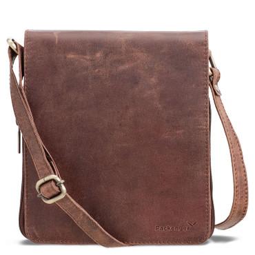 Packenger HJALTI Messenger Bag Umhängetasche Vintage Braun Ledertasche Handtasche