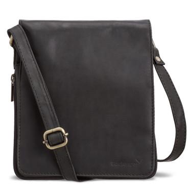 Packenger HJALTI Messenger Bag Umhängetasche Schwarz Ledertasche Handtasche – Bild 1