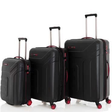 Travelite VECTOR Scwarz 3 tlg. 2w + 4w Trolley Set – Bild 1