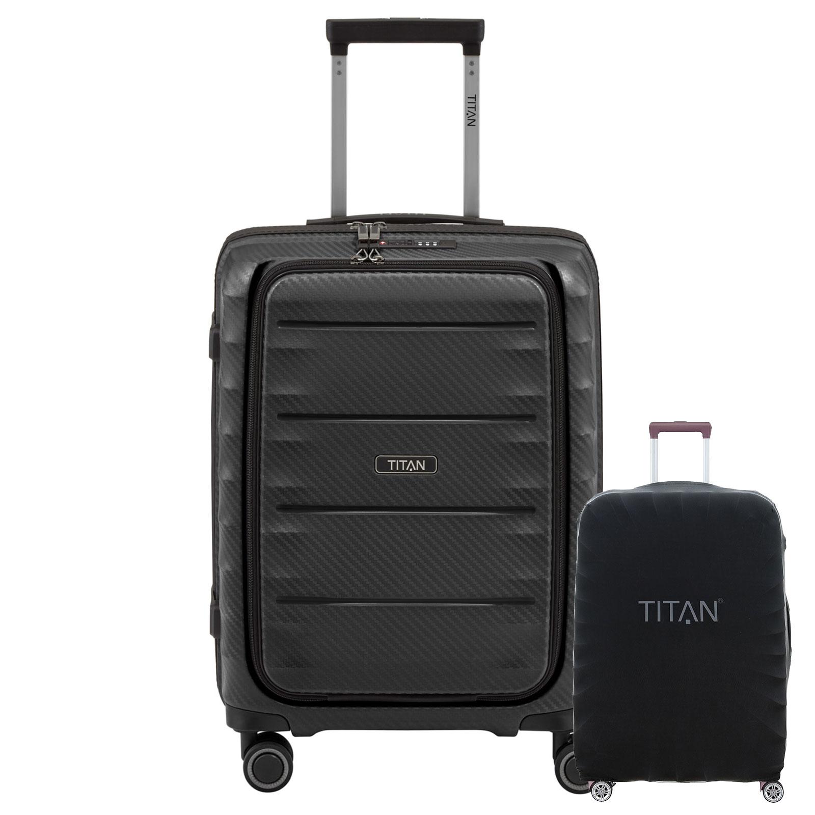 TITAN HIGHLIGHT  Schwarz 55cm Handgepäck Trolley mit Vortasche inkl. Kofferschutz