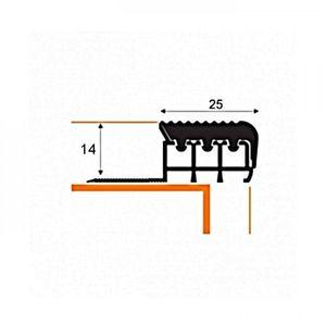 Kantenprofil (Gummi braun) Aspro, 25x14mm, Aluminium, 2,5m – Bild 2