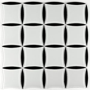 Weiß und Schwarz Glasmosaik 316x316X4mm Quadratisch Oval 030 – Bild 3
