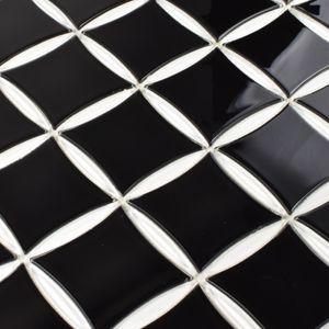 Schwarz und Weiß Glasmosaik 316x316X4mm Quadratisch Oval 031 – Bild 4