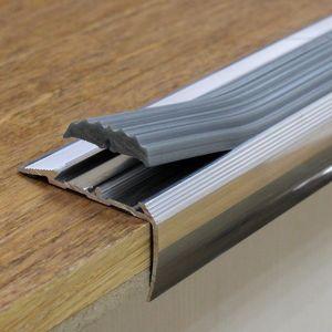 Treppenstufenprofil mit Grau Gummi | 40x20mm 0.9m Aluminium Treppenkantenprofil – Bild 2