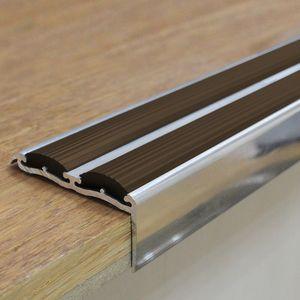 Treppenstufenprofil mit Braun Gummi | 48x18mm 0.9m Aluminium Treppenkantenprofil – Bild 1