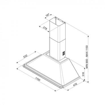 KT110BLE, Dekor-Kaminwandhaube, EEK-A, Schwarz, Victoria Design, 110cm – Bild 3
