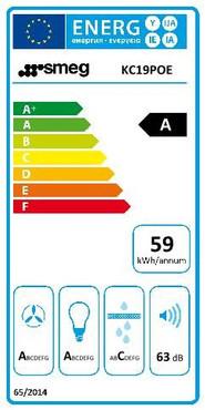 DEKOR - WANDHAUBE, 90CM, CREME, CORTINA DESIGN, GEHÄUSE IM THERMOPLAST - STYLE, RELING + SMEG LOGO MESSING ANTIK, 3 LEISTUNGSSTUFEN + INTENSIV, 2 LED – BELEUCHTUNGEN, ENERGIE-EFFIZIENZKLASSE A – Bild 4