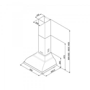KC16POE, Dekor-Wandhaube, EEK-A, Creme, Cortina Design, 60 cm – Bild 3