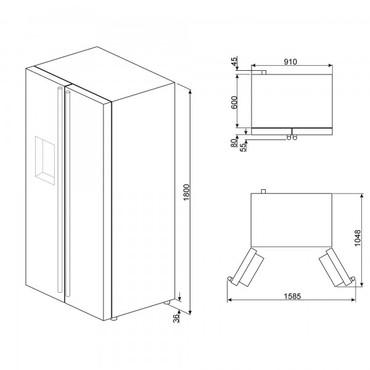 FA63X, Side-By-Side, 90cm, EEK-A+, Edelstahl-Ummantelung, No Frost, + Eis & Wasserspender – Bild 4