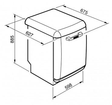 BLV2R-2, Standgeschirrspüler, EEK-A+++, 50er Jahre Design Rot, 60 cm – Bild 4