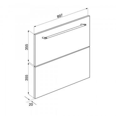 KIT93636X, Frontpaneele, Edelstahl Brillante, 90 cm Höhe 36 und 36 cm, Classici Design – Bild 3