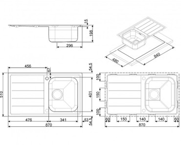 LFB861, Einbauspüle 870x510x1mm, Edelstahl, Flachrahmen – Bild 2