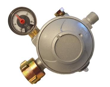 Gas-Druckminderer 50 mbar für Innenbereich, Doppelmembran, thermische Absperreinrichtung und Manometer