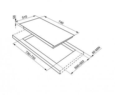 PVS750D, Gas-Glaskeramikkochfeld Silberglas fünfflammig 74 cm Linea Design  – Bild 3