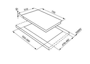 P1752XTD, Gaskochfeld Edelstahl sechsflammig 74 cm Linea Design  – Bild 2