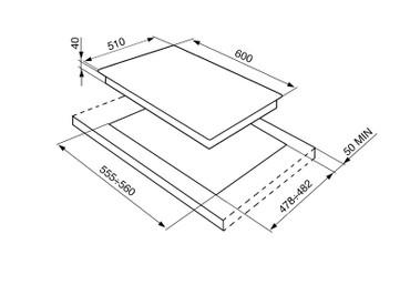 P1641XTD, Gaskochfeld Edelstahl vierflammig 60 cm Linea Design  – Bild 2