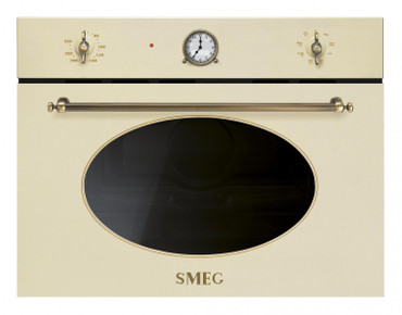 EINBAU - KOMPAKT - MIKROWELLE 45CM, NOSTALGIE DESIGN, CREME - MESSING ANTIK, 5 PROGRAMMFUNKTIONEN, INKL. GRILL, SOFT CLOSE, ANALOGE - DIGITALE PROGRAMMUHR + LED – DISPLAY – Bild 1