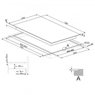 PV175CND, Einbau-Gaskochfeld, Linea Design, 72 cm, Glaskeramik Schwarz – Bild 3