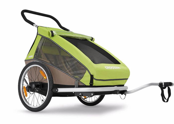 CROOZER Kid for 2 Click & Crooz Kin­der­fahr­rad­-An­hän­ger mit Fahr­rad-Set, Buggy-Set und Jogger-Set