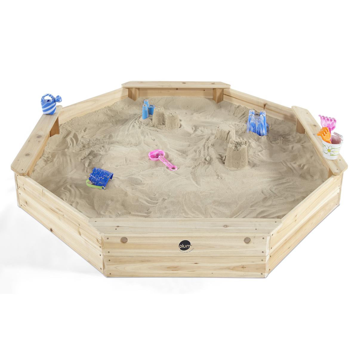 Plum gigantischer Kinder Sandkasten aus Holz mit Sitzbänken und Schutzhülle