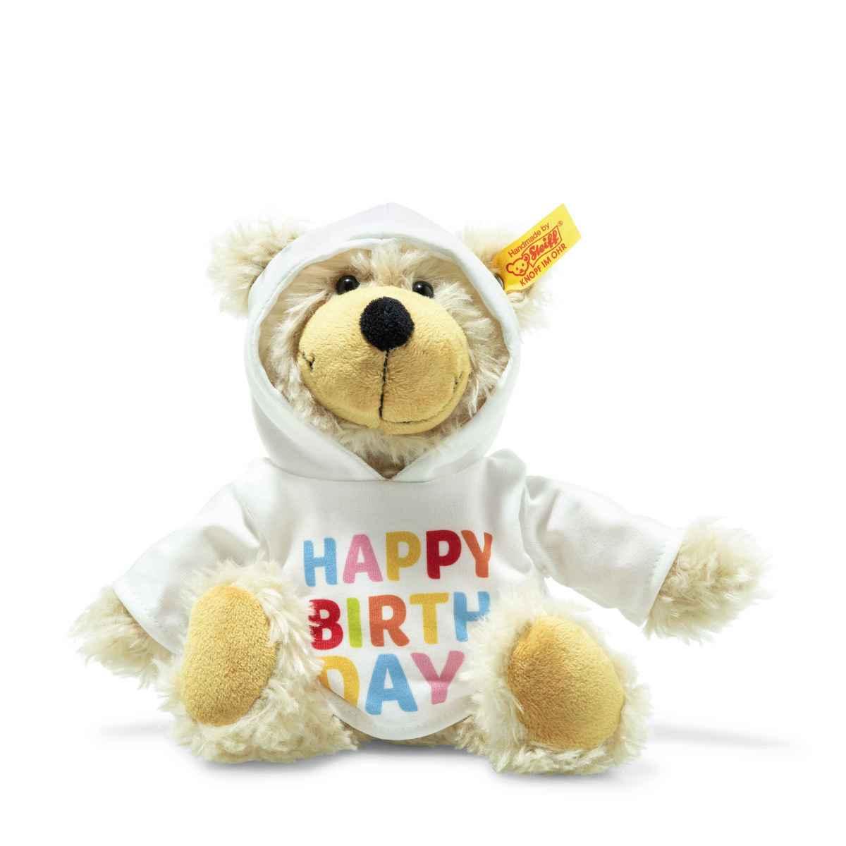Steiff Charly Happy Birthday Schlenker-Teddybär mit Kapuzenpullover - 23 cm