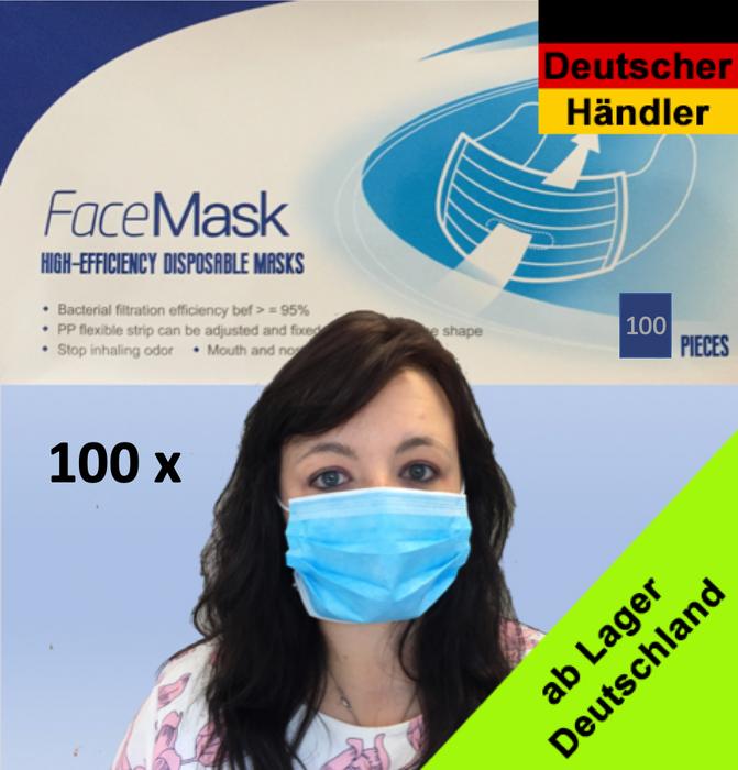 FFP1 zertifizierte EN149:2001+A1:2009 medizinische Vlies-Einweg Mund- und Nasenmaske - 3 Schichten Alltagsmaske