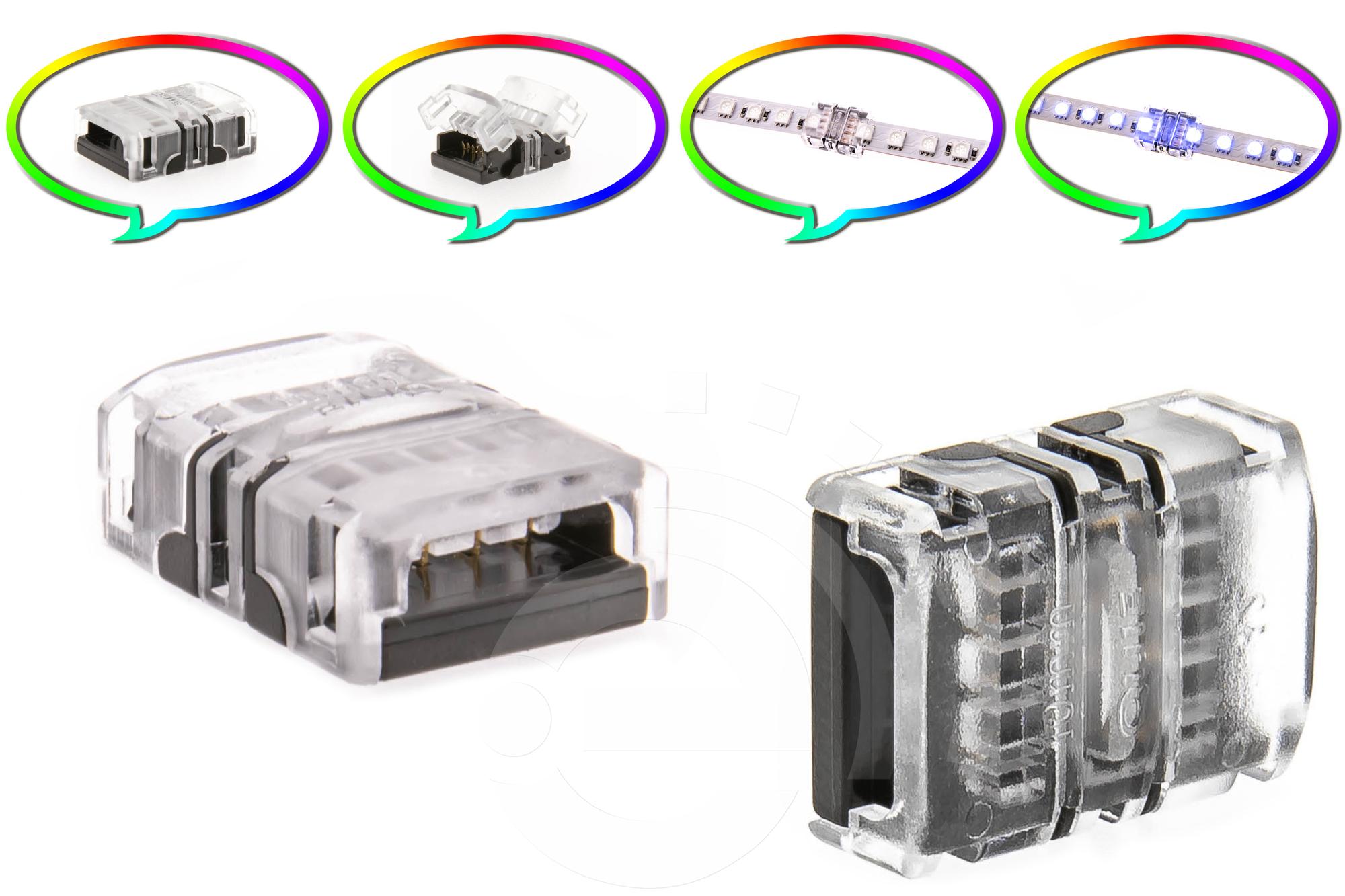 10mm RGB Schnell Verbinder für LED Streifen 4-Pin Adapter Strip / Stripe Direkt
